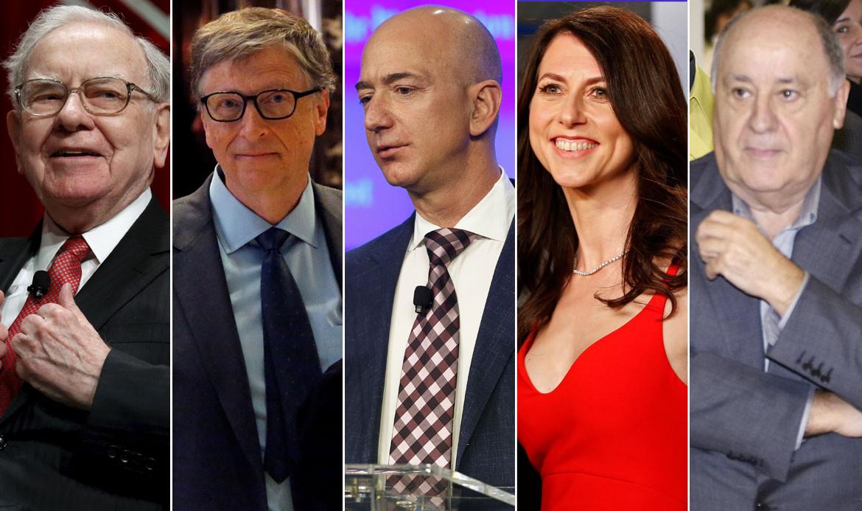 Warren Buffett, Bill Gates, Jeff Bezos, MacKenzie Bezos, Amancio Ortega