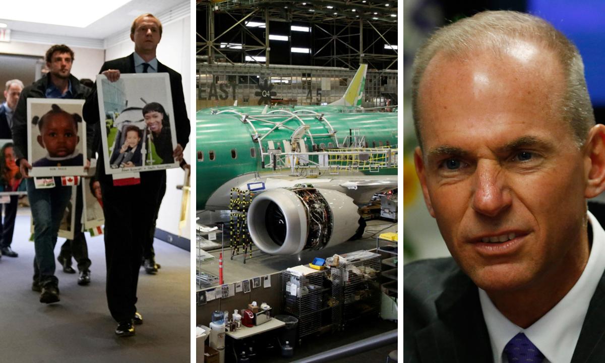 S lijeva na desno: članovi obitelji drže portrete poginulih, Boeing 737 max na proizvodnoj liniji u tvornici u Rentonu, Dennis Muilenburg