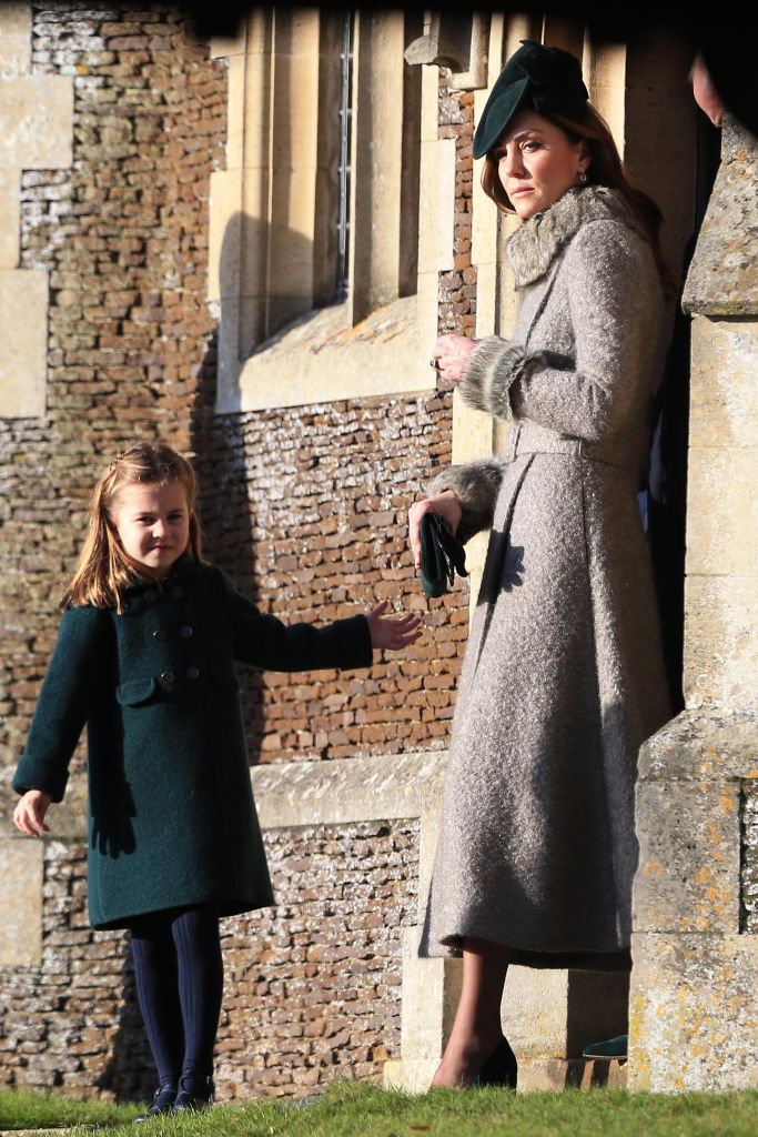 KING'S LYNN, ENGLAND - DECEMBER 25: Catherine, Duchess of Cambridge and Princess Charlotte leave after attending the Christmas Day Church service at Church of St Mary Magdalene on the Sandringham estate on December 25, 2019 in King's Lynn, United Kingdom. (Photo by Stephen Pond/Getty Images)