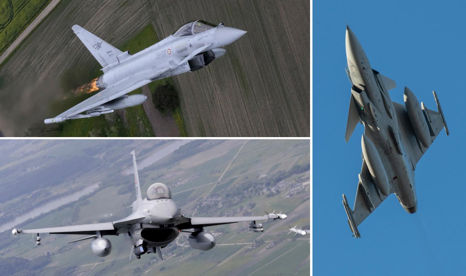 Eurofighter (lijevo gore), F-16 (dolje desno), Saab Gripen (desno)