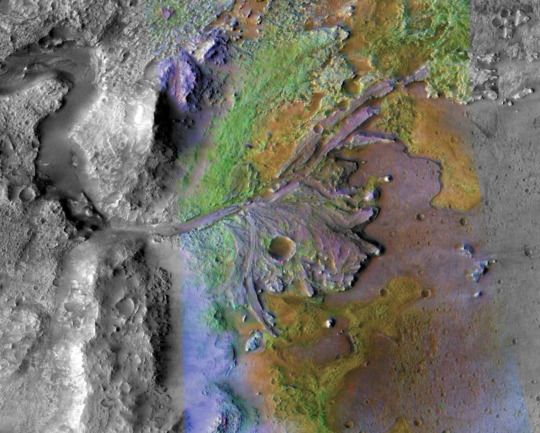 FILE PHOTO: Fans and deltas formed by water and sediment are seen in the Jezero Crater on Mars, identified as a potential landing site for the Mars 2020 Rover, in this false color image taken by NASA's Mars Reconnaissance Orbiter, published May 15, 2019 and obtained November 15, 2019. NASA/JPL-Caltech/Handout via REUTERS ATTENTION EDITORS - THIS IMAGE HAS BEEN SUPPLIED BY A THIRD PARTY/File Photo