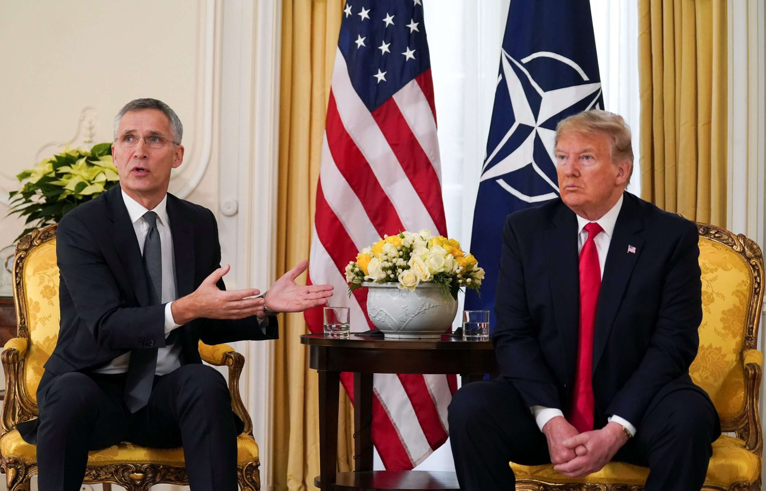 U.S. President Donald Trump meets with NATO Secretary General Jens Stoltenberg, ahead of the NATO summit in Watford, in London, Britain, December 3, 2019. REUTERS/Kevin Lamarque
