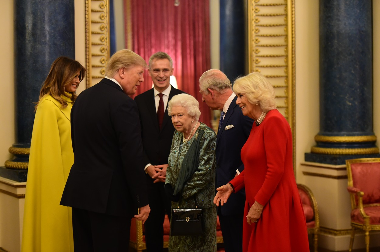 3 December 2019.  The Queen, accompanied by other Members of the Royal Family, hosts a reception for NATO leaders, spouses or partners, and delegations, at Buckingham Palace, London, UK, on the 3rd December 2019., Image: 486200571, License: Rights-managed, Restrictions: **No UK Sales**, Model Release: no, Credit line: JWRota / Goff Photos / Profimedia