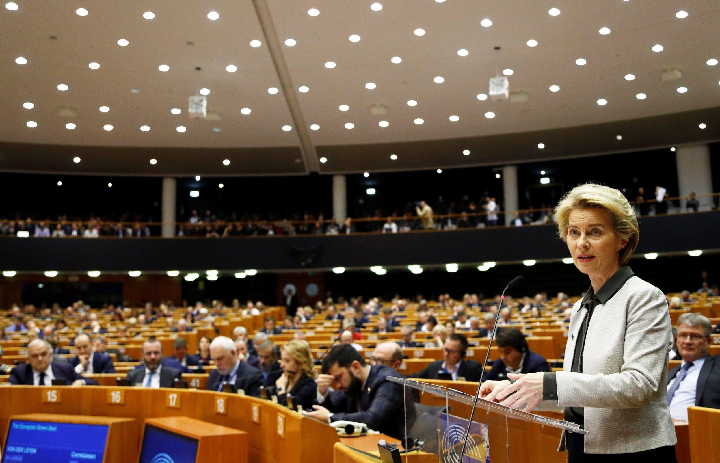 Predsjednica Europske komisije Ursula von der Leyen prilikom predstavljanja europskog Zelenog sporazuma na sjednici Europskog parlamenta u Bruxellesu, 11.12.2019.
