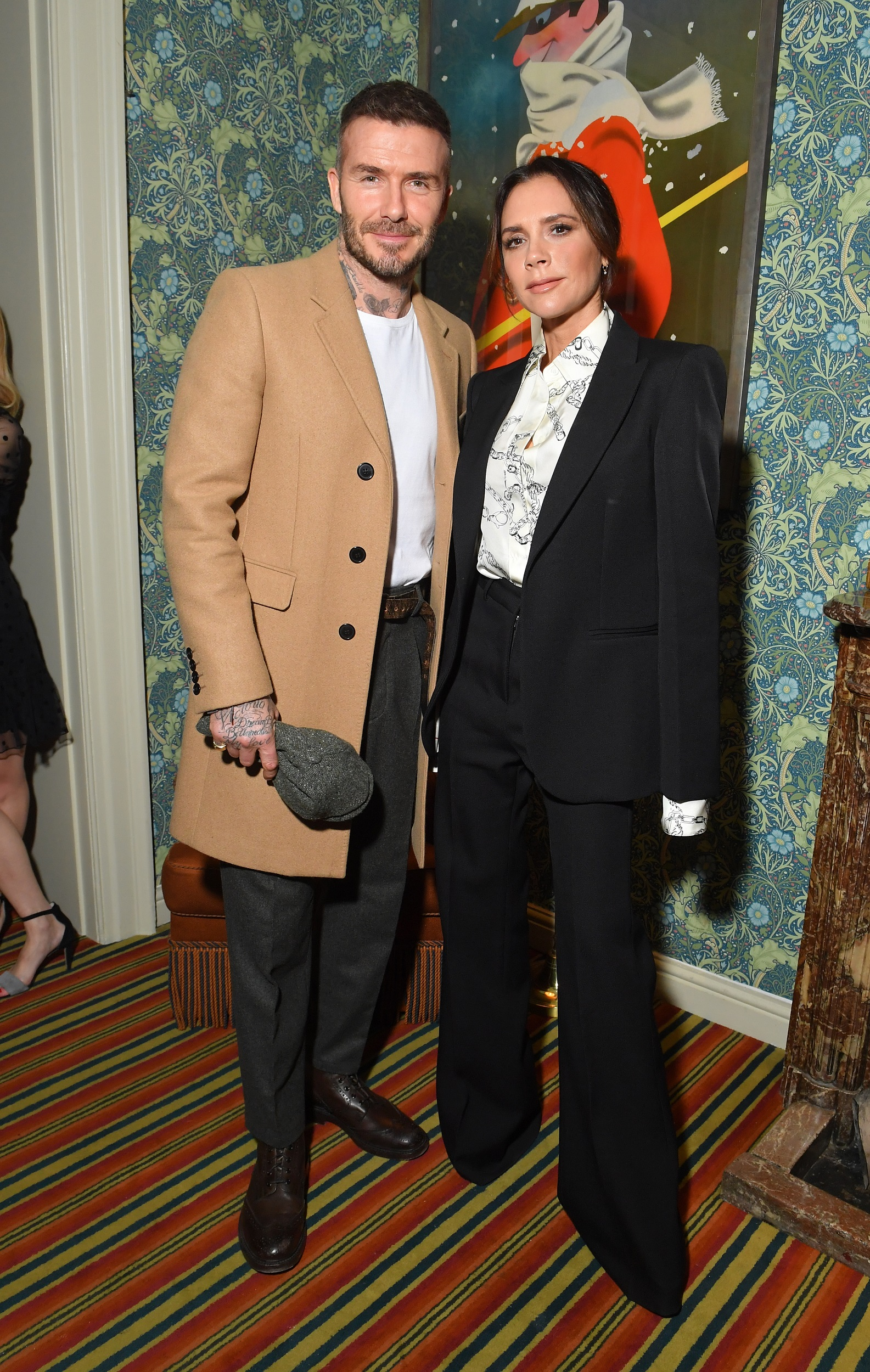 LONDON, ENGLAND - FEBRUARY 17:  (L-R) Victoria and David Beckham attend the Victoria Beckham x YouTube Fashion & Beauty After Party at London Fashion Week hosted by Derek Blasberg and David Beckham, at Marks Club on February 17, 2019 in London, England. (Photo by Victor Boyko/Getty Images for YouTube)