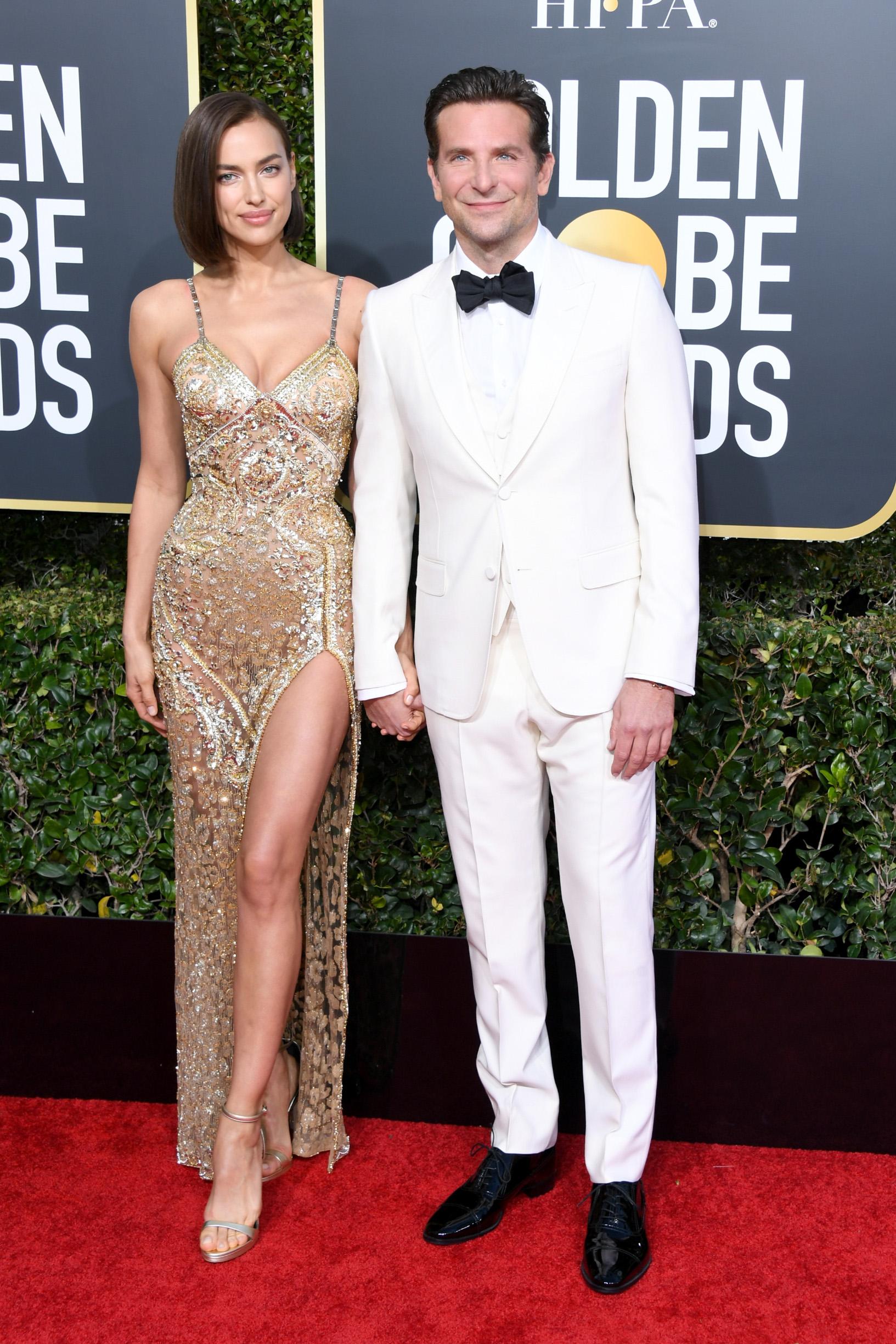BEVERLY HILLS, CA - JANUARY 06:  Irina Shayk and Bradley Cooper attend the 76th Annual Golden Globe Awards at The Beverly Hilton Hotel on January 6, 2019 in Beverly Hills, California.  (Photo by Jon Kopaloff/Getty Images)