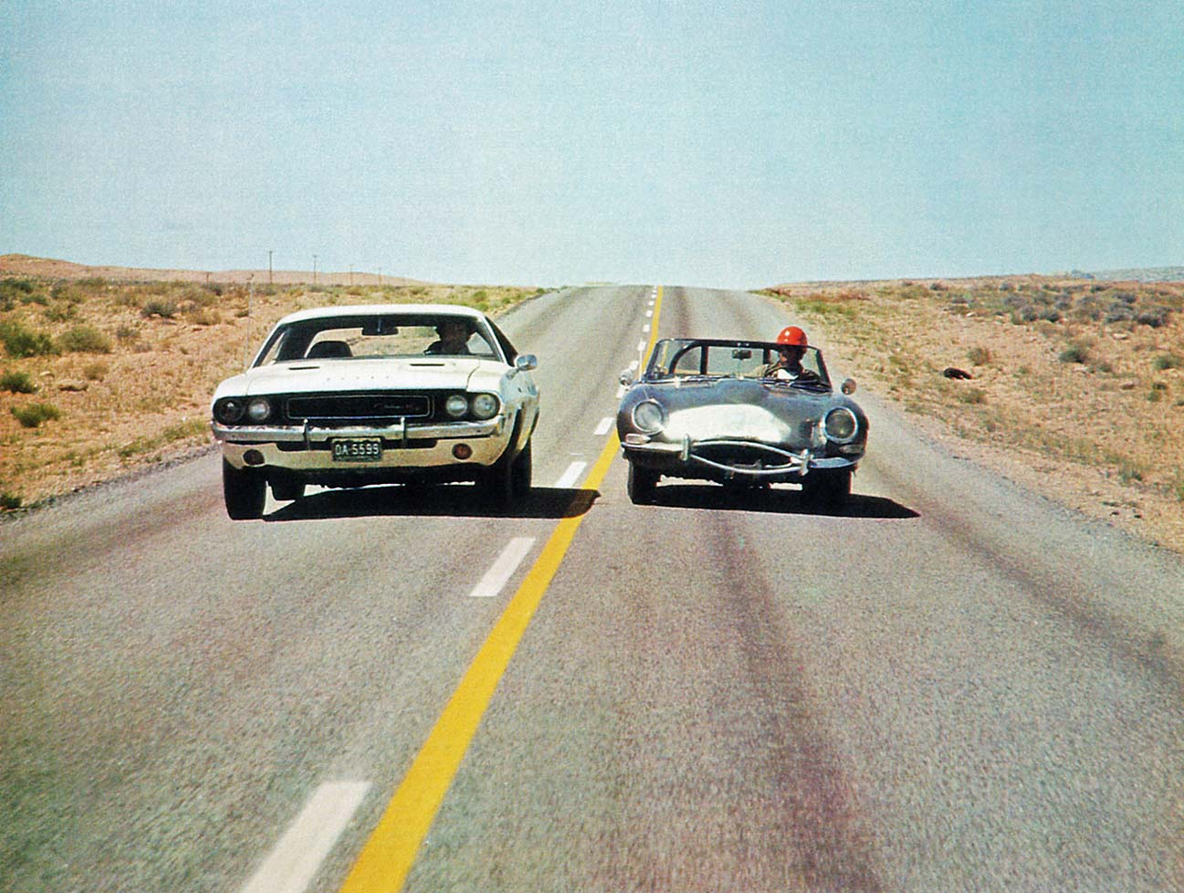 VANISHING POINT, Barry Newman (in car left), 1971, TM & Copyright © 20th Century Fox Film Corp./courtesy Everett Collection