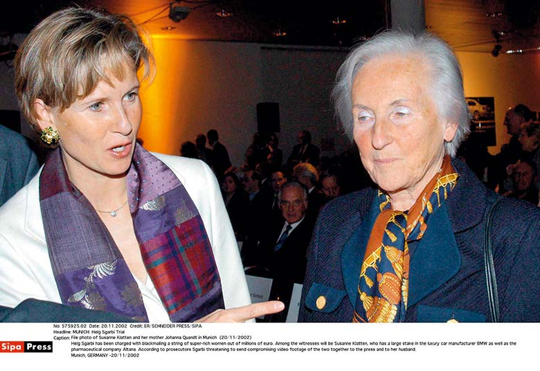 File photo of Susanne Klatten and her mother Johanna Quandt in Munich  (20/11/2002) Helg Sgarbi has been charged with blackmailing a string of super-rich women out of millions of euro. Among the witnesses will be Susanne Klatten, who has a large stake in the luxury car manufacturer BMW as well as the pharmaceutical company Altana. According to prosecutors Sgarbi threatening to send compromising video footage of the two together to the press and to her husband. Munich, GERMANY -20/11/2002/0903091205, Image: 221569634, License: Rights-managed, Restrictions: ATT DIFFERENTS DATES ET DIFFERENTS PHOTOGRAPHES, Model Release: no, Credit line: ER/SCHNEIDER PRESS / Sipa Press / Profimedia
