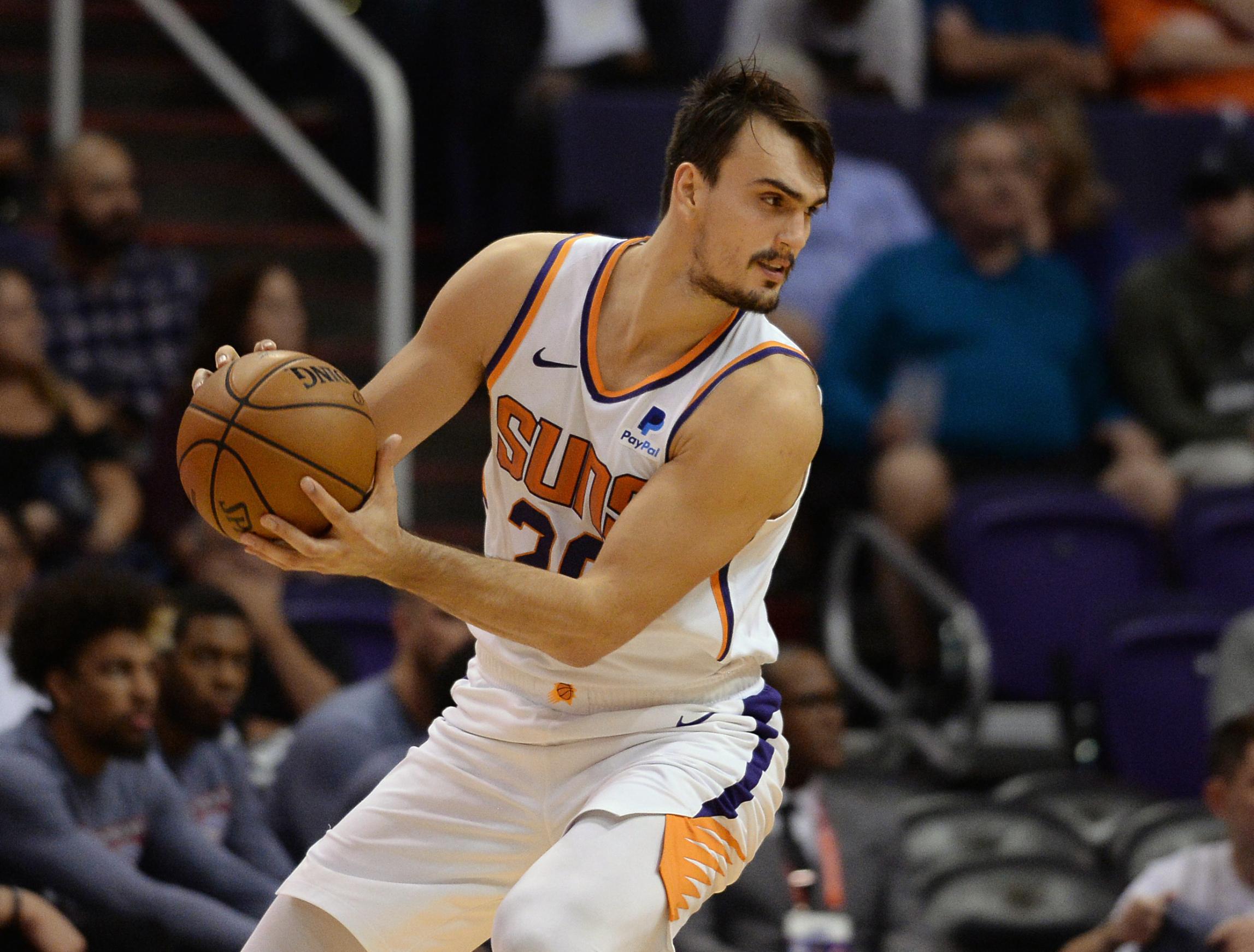 Nov 14, 2019; Phoenix, AZ, USA; Phoenix Suns forward Dario Saric (20) controls the ball against the Atlanta Hawks during the second half at Talking Stick Resort Arena. Mandatory Credit: Joe Camporeale-USA TODAY Sports - 13666197