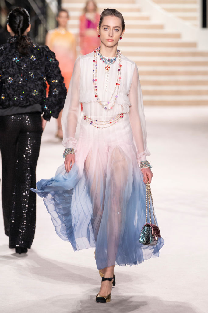 PARIS, FRANCE - DECEMBER 04: A model walks the runway during the Chanel Metiers d'art 2019-2020 show at Le Grand Palais on December 04, 2019 in Paris, France. (Photo by Francois Durand/Getty Images)