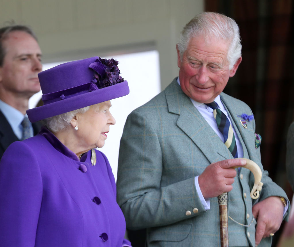 BRAEMAR, SCOTLAND - SEPTEMBER 07: Queen Elizabeth II and Prince Charles, Prince of Wales during the 2019 Braemar Highland Games at The Princess Royal and Duke of Fife Memorial Park on September 07, 2019 in Braemar, Scotland. (Photo by Chris Jackson/Getty Images)