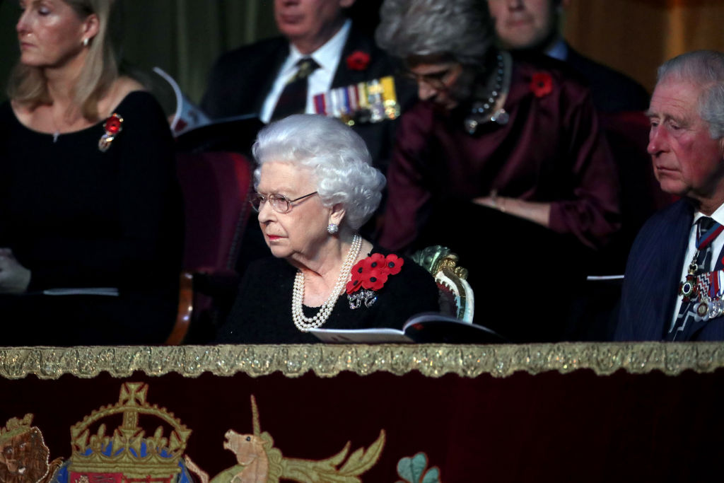 LONDON, ENGLAND - NOVEMBER 09: Queen Elizabeth II and Prince Charles, Prince of Wales attend the annual Royal British Legion Festival of Remembrance at the Royal Albert Hall on November 09, 2019 in London, England. (Photo by Chris Jackson/- WPA Pool/Getty Images)