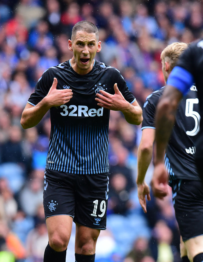 GLASGOW, SCOTLAND - JULY 21: Nikola Katic of Rangers in action during the Pre-Season Friendly between Rangers FC and Blackburn Rovers at Ibrox Stadium on July 21, 2019 in Glasgow, Scotland. (Photo by Mark Runnacles/Getty Images)