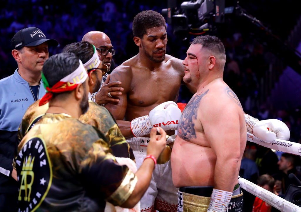 DIRIYAH, SAUDI ARABIA - DECEMBER 07: Anthony Joshua speaks to Andy Ruiz Jr after the IBF, WBA, WBO & IBO World Heavyweight Title Fight between Andy Ruiz Jr and Anthony Joshua during the Matchroom Boxing 'Clash on the Dunes' show at the Diriyah Season on December 07, 2019 in Diriyah, Saudi Arabia (Photo by Richard Heathcote/Getty Images)