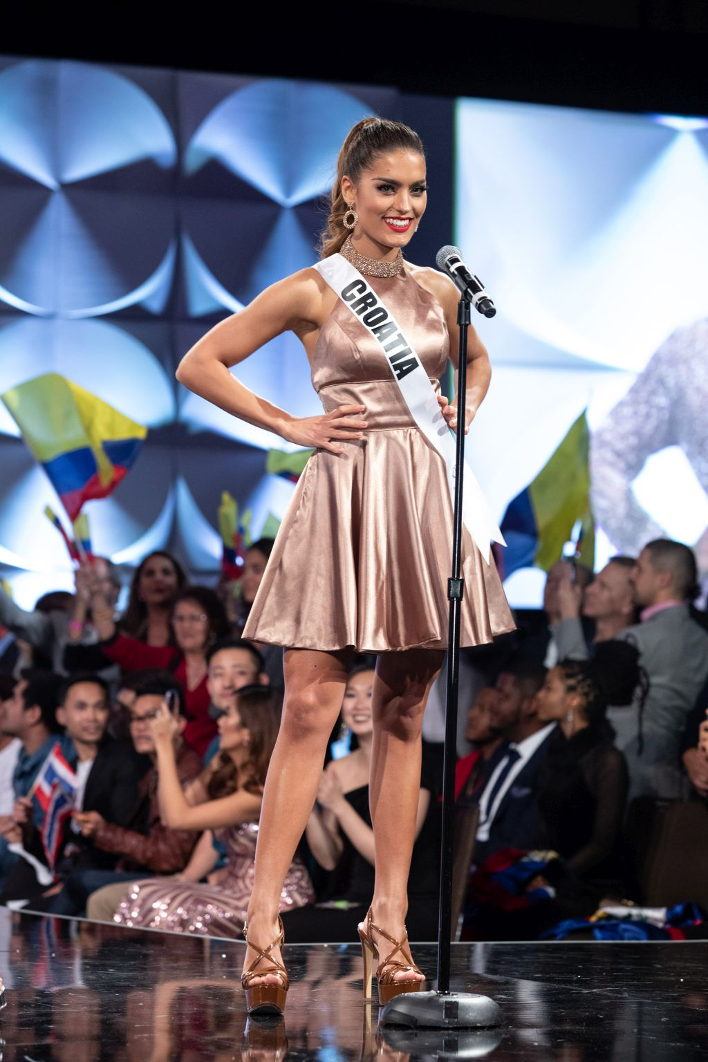 Mia Rkman, Miss Croatia 2019 on stage in fashion by Sherri Hill during the opening of the MISS UNIVERSE® Preliminary Competition at the Marriott Marquis in Atlanta on Friday, December 6, 2019.  The Miss Universe contestants are touring, filming, rehearsing and preparing to compete for the Miss Universe crown in Atlanta. Tune in to the FOX telecast at 7:00 PM ET on Sunday, December 8, 2019 live from Tyler Perry Studios in Atlanta to see who will become the next Miss Universe. HO/The Miss Universe Organization