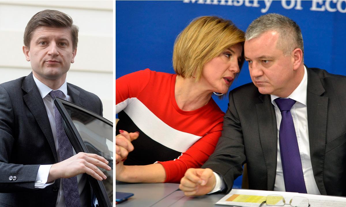 Ministar financija Zdravko Marić (lijevo), ministar gospodarstva Darko Horvat i njegova zamjenica Ana Mandac