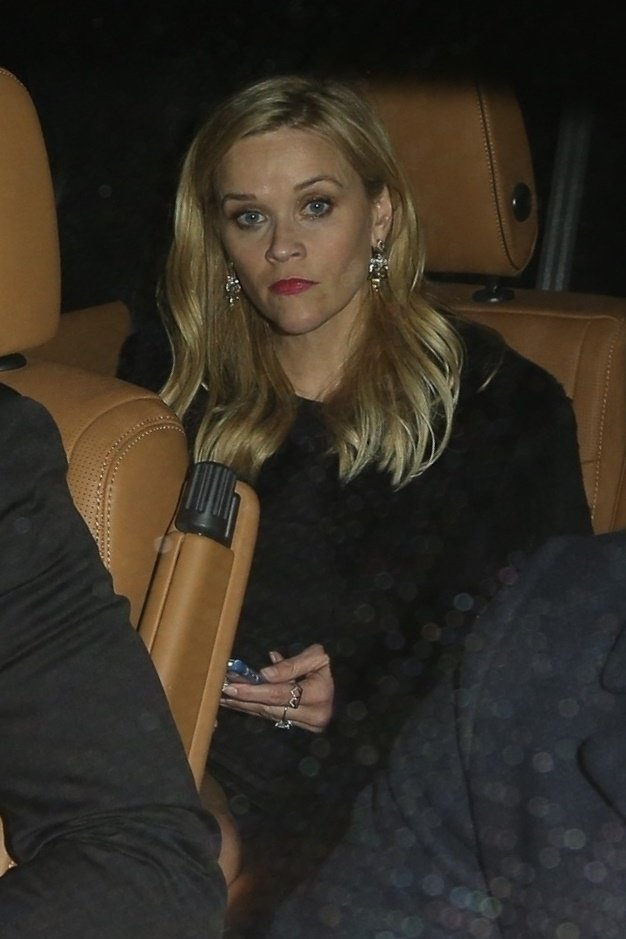 West Hollywood, CA  - Celebs leave Jennifer Aniston's 50th birthday party at the Sunset Tower Hotel in Hollywood. Shot on 02/09/19.  Pictured: Reese Witherspoon    *UK Clients - Pictures Containing Children Please Pixelate Face Prior To Publication*, Image: 413034036, License: Rights-managed, Restrictions: , Model Release: no, Credit line: Profimedia, Backgrid USA