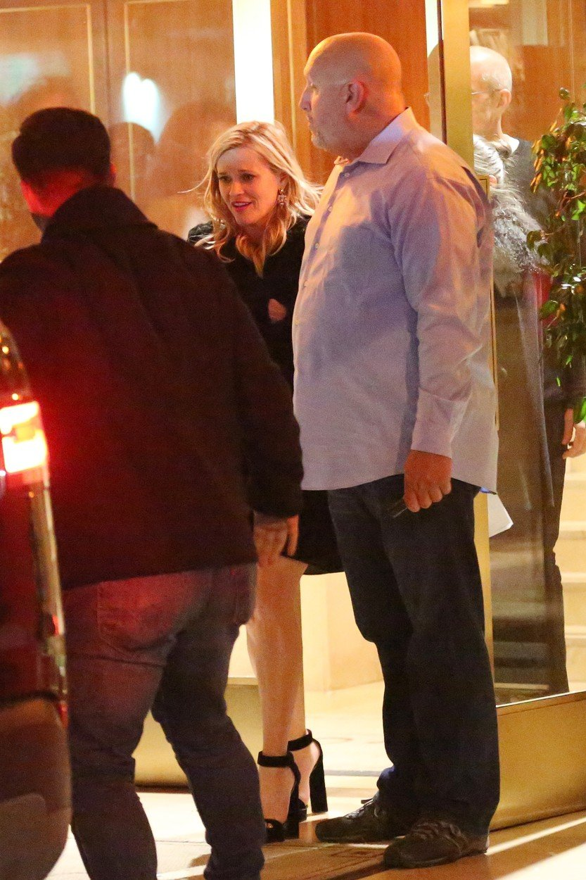 Reese Witherspoon takes a spill as she leaves the Sunset Tower Hotel after attending Jennifer Aniston's 50th birthday party in West Hollywood. Reese appears to have had a real good time at Jennifer's 50th birthday bash as she is seen tripping down the stairs on her way out. 10 Feb 2019, Image: 413043979, License: Rights-managed, Restrictions: World Rights, Model Release: no, Credit line: Profimedia, Mega Agency