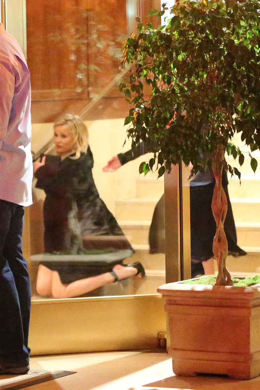 Reese Witherspoon takes a spill as she leaves the Sunset Tower Hotel after attending Jennifer Aniston's 50th birthday party in West Hollywood. Reese appears to have had a real good time at Jennifer's 50th birthday bash as she is seen tripping down the stairs on her way out. 10 Feb 2019, Image: 413045186, License: Rights-managed, Restrictions: World Rights, Model Release: no, Credit line: Profimedia, Mega Agency