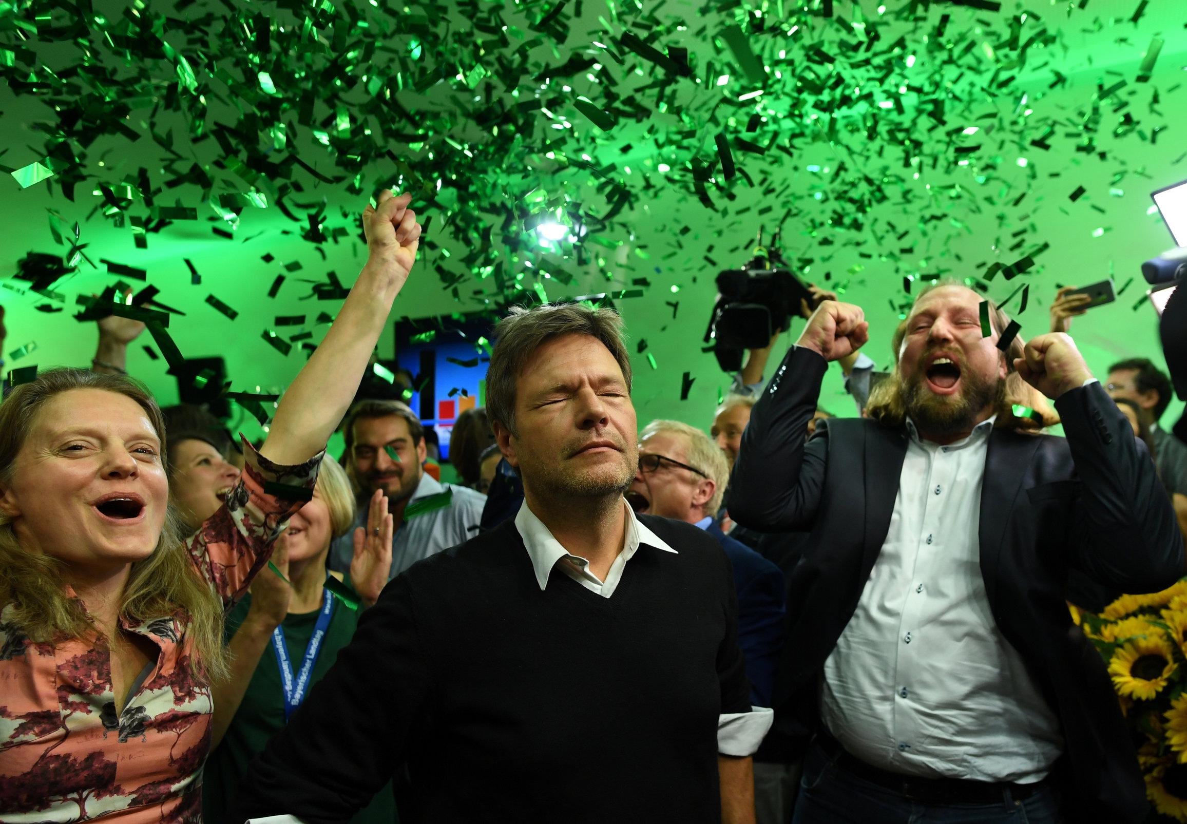 Lideri stranke Zelenih (slijeva) Henrike Hahn, Robert Habeck i Anton Hofreiter slave najbolji rezultat u povijesti na izborima u Bavarskoj prošle godine