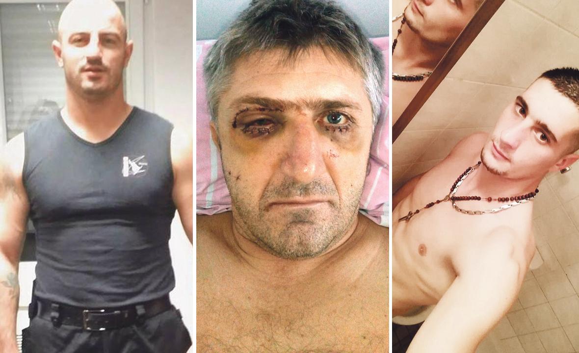 Kick-boksač Miroslav Odoljević (lijevo), Niko Matišić (desno) i Aleksandar Radonić brutalno su 17. siječnja 2017. godine pretukli zaštitara Ivana Topalovića ( u sredini)