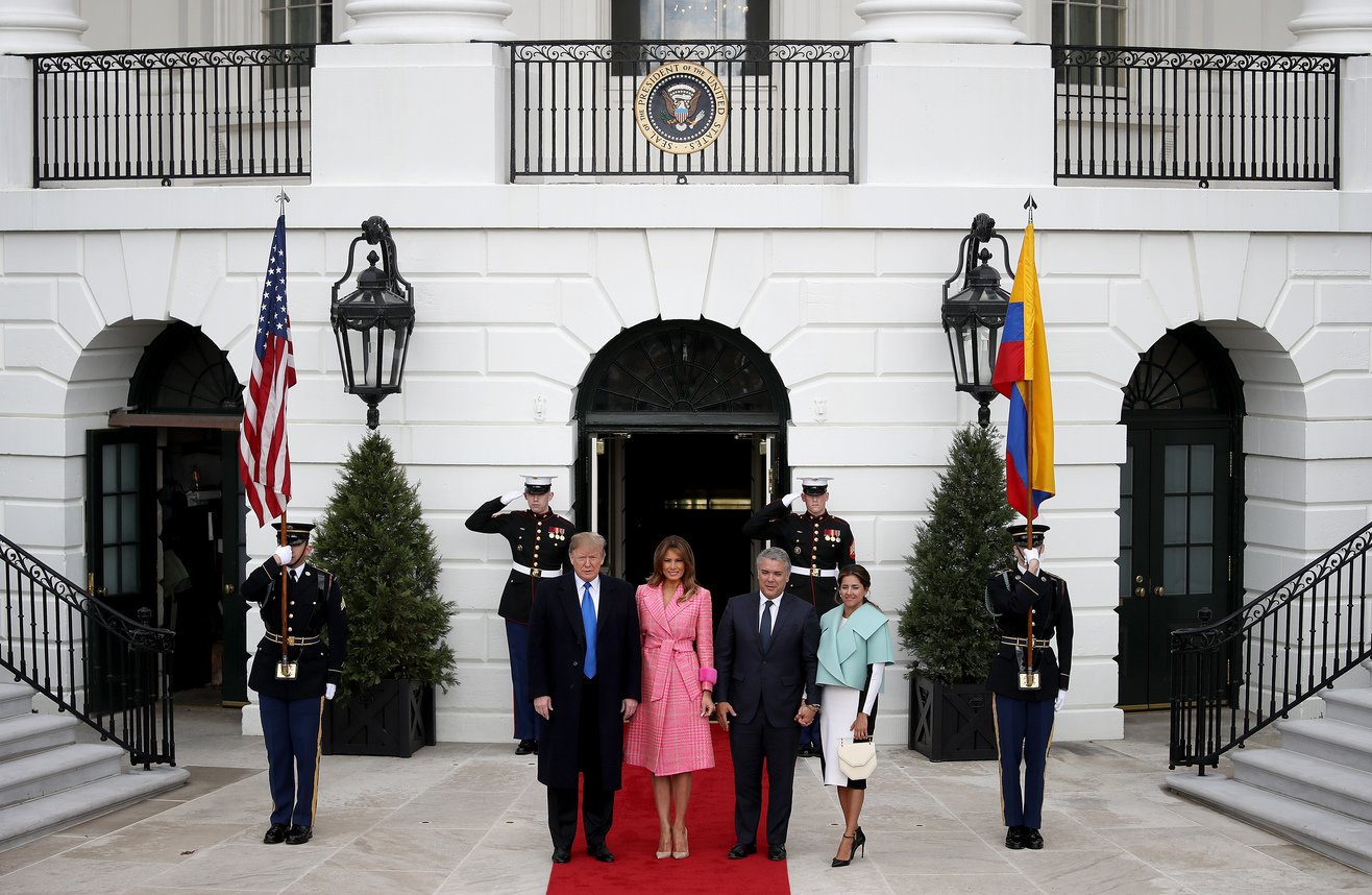 WASHINGTON, DC - FEBRUARY 13: U.S. President Donald Trump and first lady Melania Trump welcome Colombian President Ivan Duque Marquez and first lady Maria Juliana Ruiz Sandoval to the White House February 13, 2019 in Washington, DC. Marquez and Trump are expected to discuss a range of bilateral issues during their meetings. (Photo by Win McNamee/Getty Images)