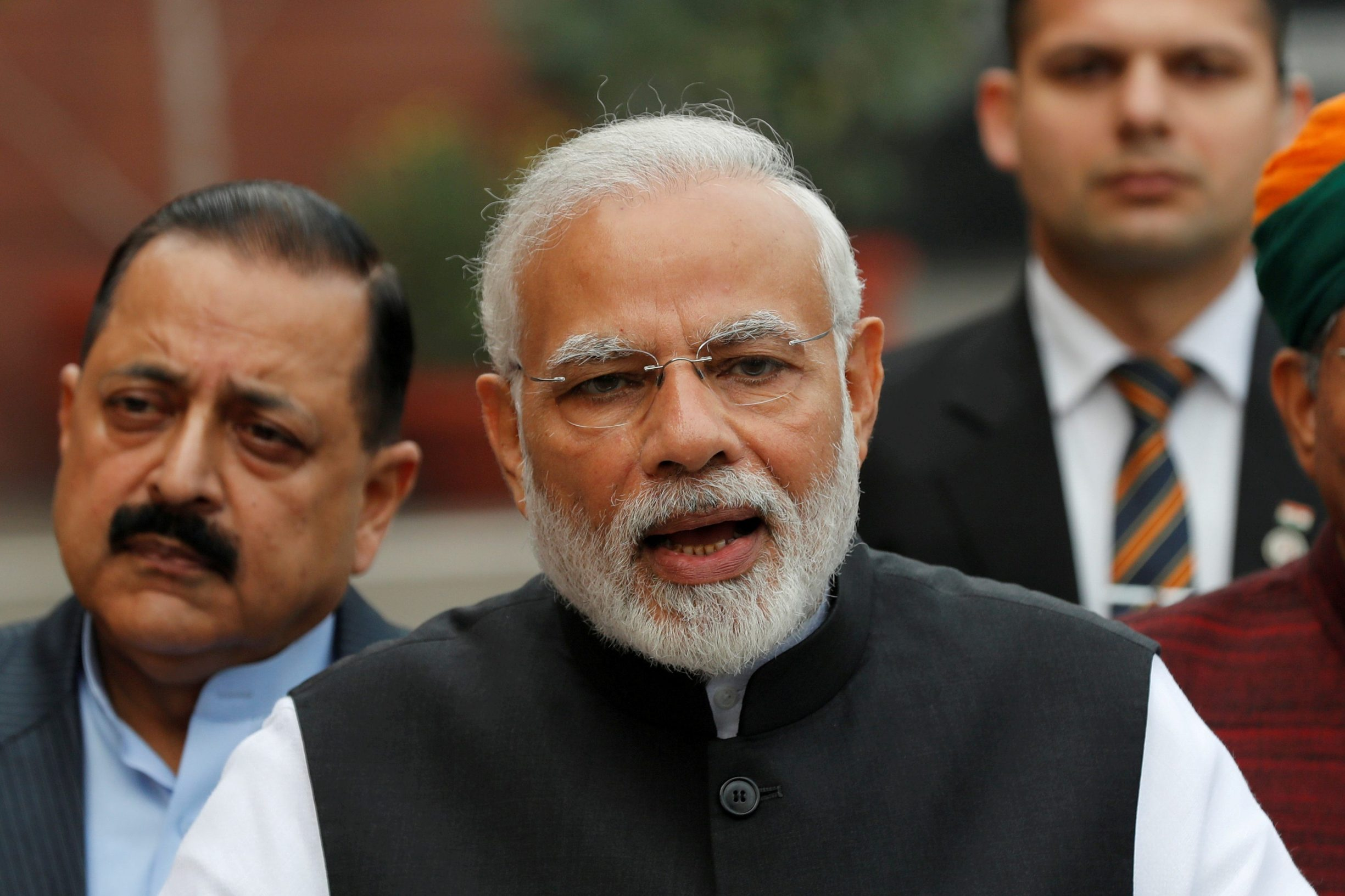 FILE PHOTO: India's Prime Minister Narendra Modi speaks with the media inside the parliament premises on the first day of the winter session, in New Delhi, India, December 11, 2018. REUTERS/Adnan Abidi/File Photo