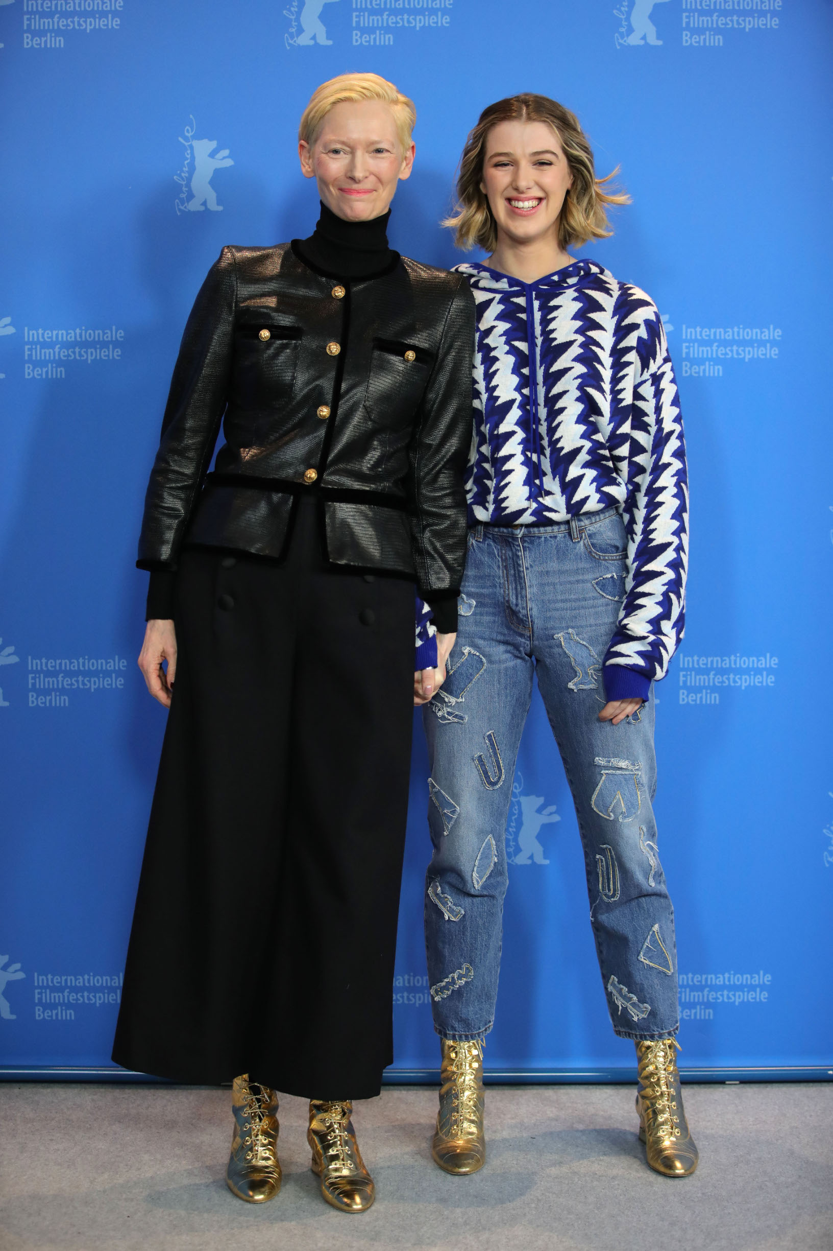BERLIN, GERMANY - FEBRUARY 12: (l-R) Tilda Swinton and her daughter  Honor Swinton-Byrne pose at the