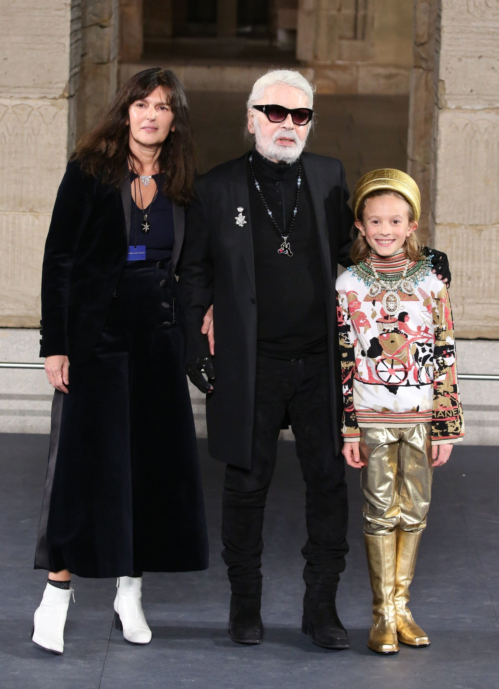 Virgine Viard, Karl Lagerfeld and Hudson Karoenig on the catwalk Chanel Metiers d'Art 2018-2019 show, Runway, New York, USA - 04 Dec 2018, Image: 400505616, License: Rights-managed, Restrictions: , Model Release: no, Credit line: Profimedia, TEMP Rex Features