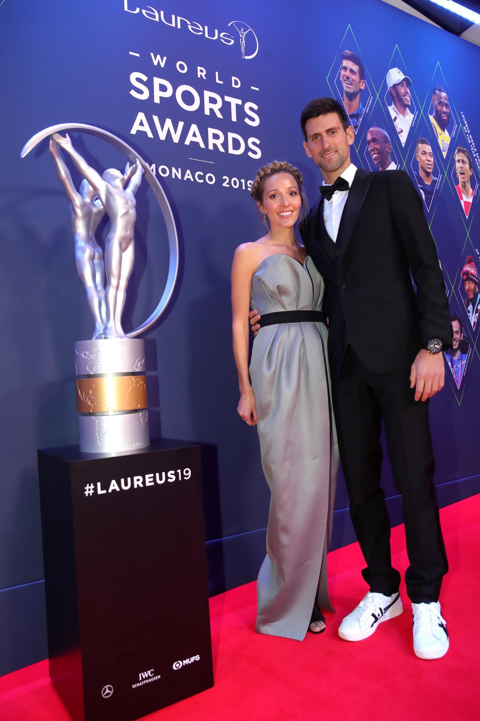 MONACO, MONACO - FEBRUARY 18:  Laureus World Sportsman of The Year 2019 Nominee Novak Djokovic and wife Jelena Djokovic during the 2019 Laureus World Sports Awards on February 18, 2019 in Monaco, Monaco. (Photo by Alexander Hassenstein/Getty Images for Laureus)