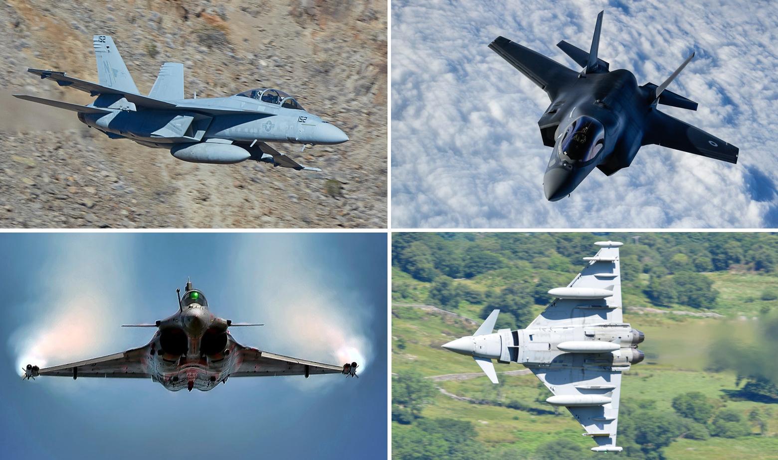 F/A-18 Super Hornet, F-35B, Dassault Rafale i Eurofighter Typhoon