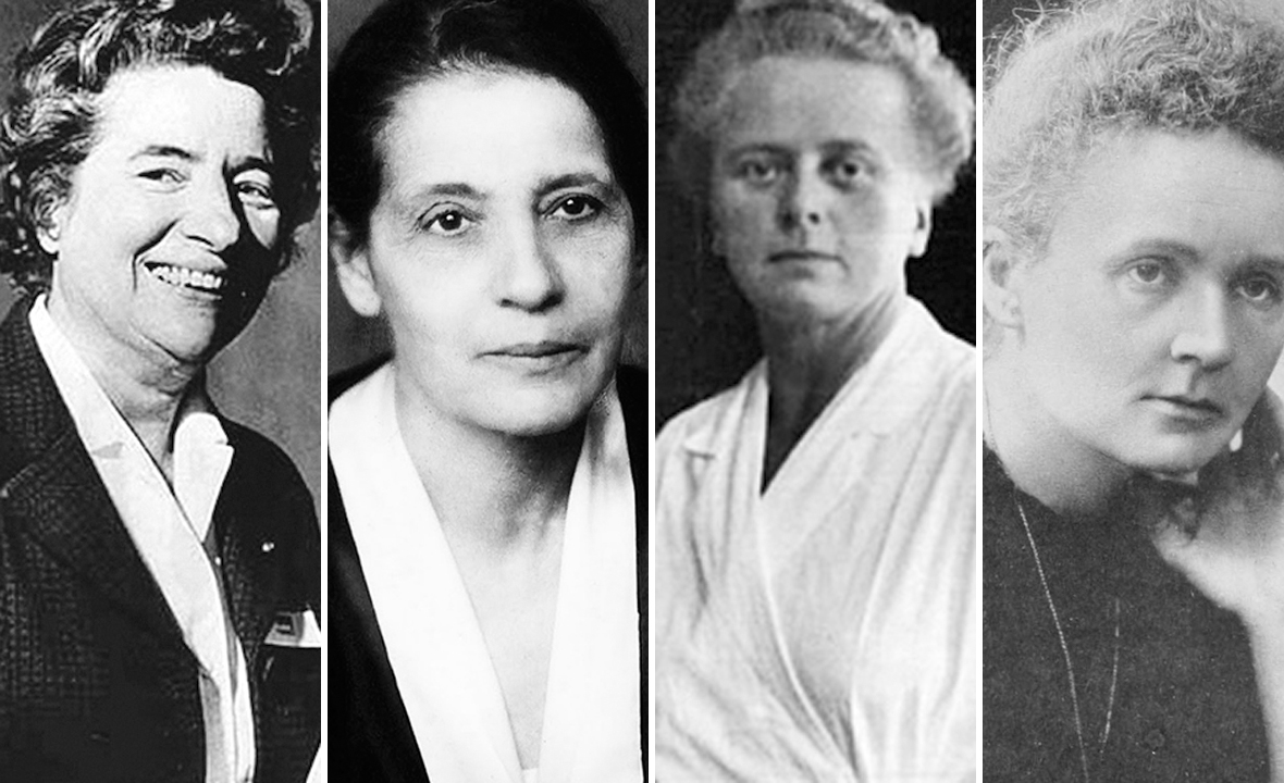 Marguerite Perey, Lise Meitner, Idda Nodack i Marie Curie