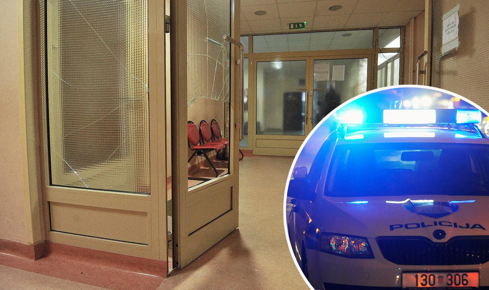 Razbijeno staklo u bolnici Jordanovac i policijski auto