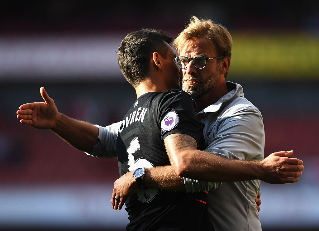 LONDON, ENGLAND - AUGUST 14: Jurgen Klopp, Manager of Liverpool and Dejan Lovren of Liverpool celebrate vicyory during the Premier League match between Arsenal and Liverpool at Emirates Stadium on August 14, 2016 in London, England.  (Photo by Michael Regan/Getty Images)
