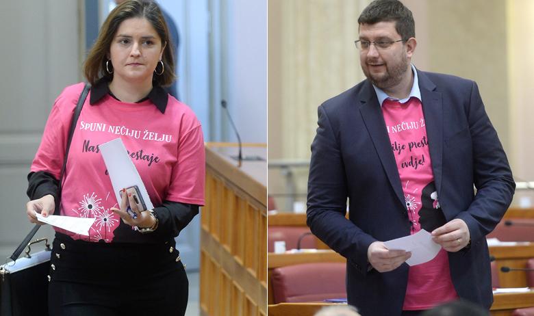 Marija Puh i Stjepan Ćuraj u ružičastim majicama