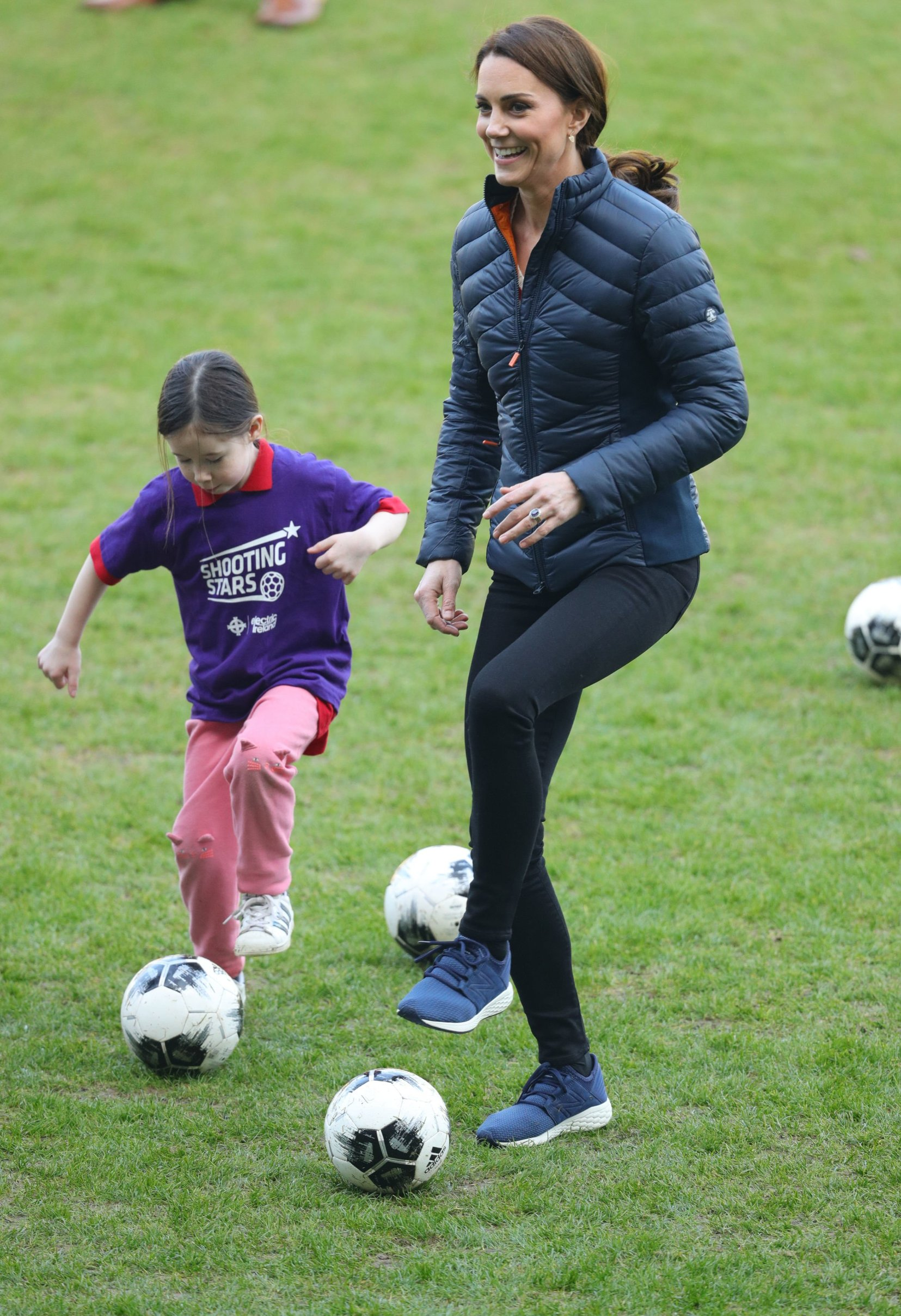 The Duchess of Cambridge tries her hand at football during her visit to Windsor Park, Belfast as part of her and the Duke of Cambridge's two day tour of Northern Ireland., Image: 416274731, License: Rights-managed, Restrictions: , Model Release: no, Credit line: Profimedia, Press Association