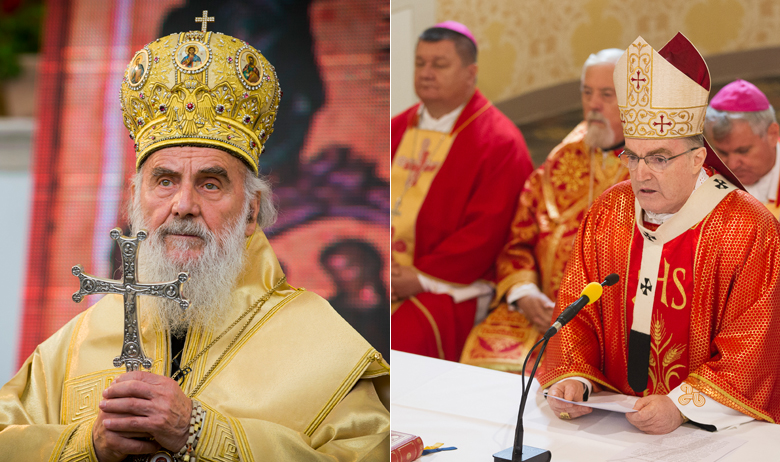 lijevo: patrijarh SPC-a Irinej; desno: kardinal Josip Bozanić, zagrebački nadbiskup