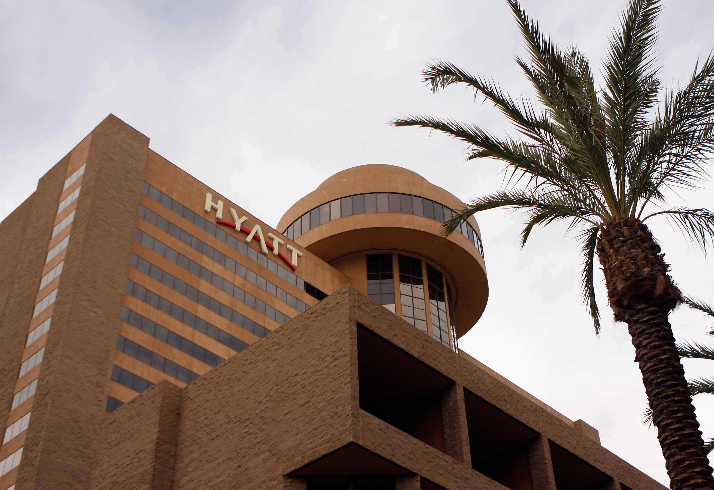 Signage for the Hyatt Hotel is advertised in Phoenix, Arizona November 4, 2009. Hyatt plans to sell 38 million shares for between  and  each under the ticker