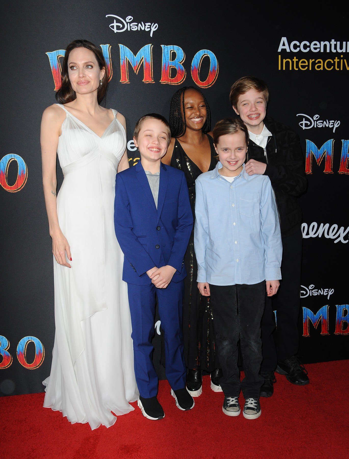 Angelina Jolie, Knox Leon Jolie-Pitt, Zahara Marley Jolie-Pitt, Vivienne Marcheline Jolie-Pitt and Shiloh Nouvel Jolie-Pitt at the World premiere of 'Dumbo' held at the El Capitan Theatre in Hollywood, USA on March 11, 2019., Image: 418866731, License: Rights-managed, Restrictions: , Model Release: no, Credit line: Profimedia, Lumeimages