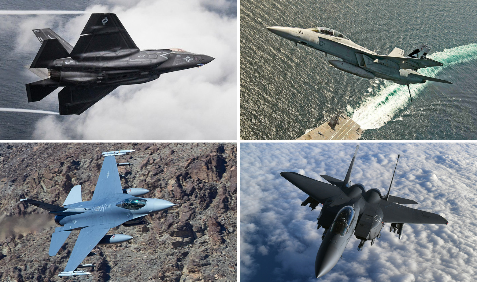 F-35C, F/A-18 Super Hornet, F-16 Falcon i F-15 Strike Eagle