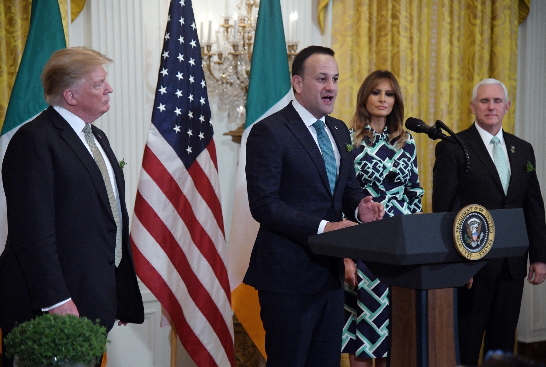 (L-R) United States President Donald J. Trump, Prime Minister Leo Varadkar of Ireland, first lady Melania Trump and U.S. Vice President Mike Pence attend the Shamrock Bowl Presentation at the White House on March 14, 2019 in Washington, D.C., Image: 419542019, License: Rights-managed, Restrictions: , Model Release: no, Credit line: Profimedia, Abaca Press
