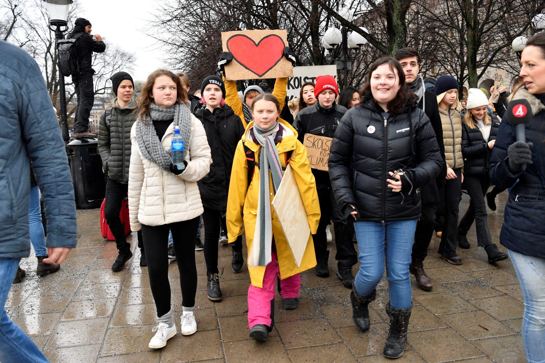 Swedish environmental activist Greta Thunberg and her sister Beata Thunberg participate in the