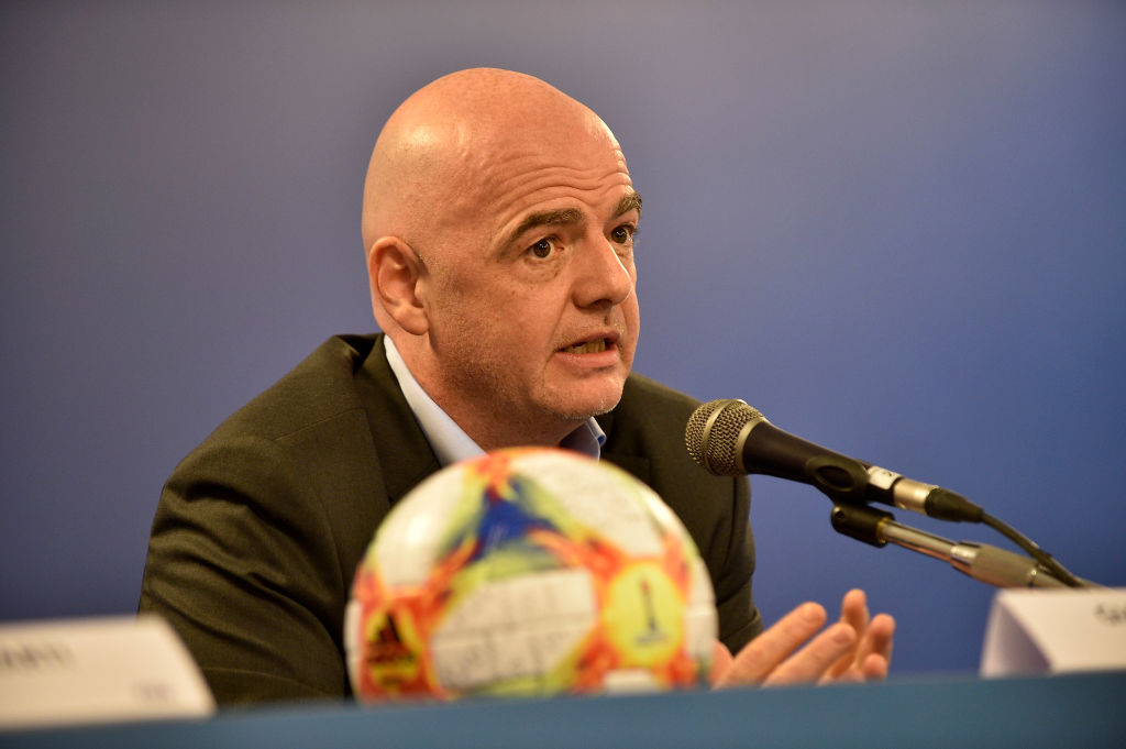 ROME, ITALY - FEBRUARY 27:  President of FIFA Gianni Infantino speaks during the FIFA executive football summit press conference on February 27, 2019 in Rome, Italy.  (Photo by Marco Rosi/Getty Images)