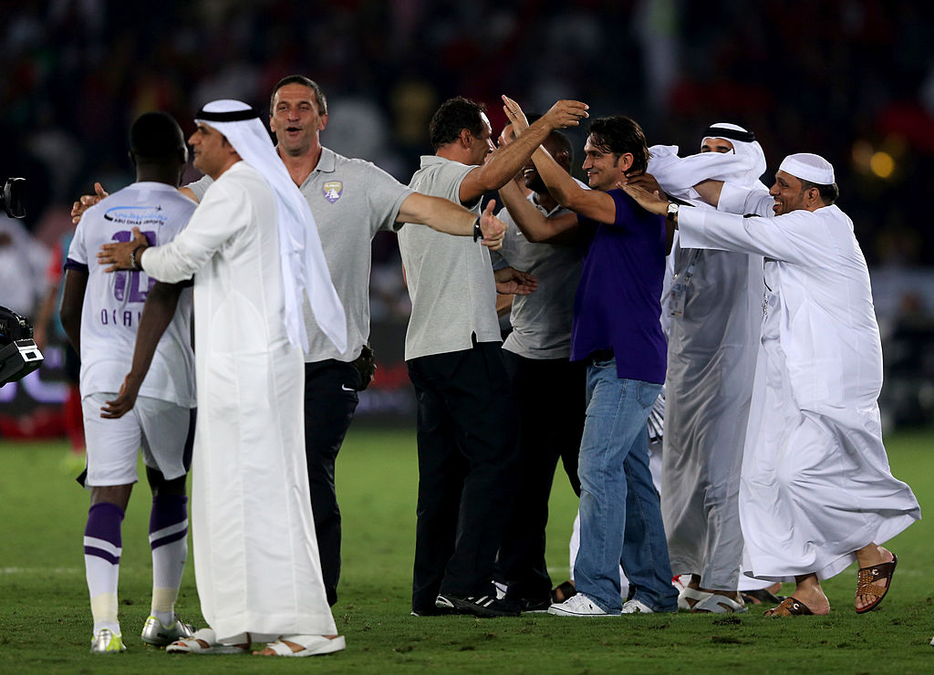 ABU DHABI, UNITED ARAB EMIRATES - MAY 18:  The Al Ain Manager Zlatko Dalic celebrates with support staff after winning  the Presidents Cup Final match between Al Ain and Al Ahli  at Zayed Sports City on May 18, 2014 in Abu Dhabi, United Arab Emirates.  (Photo by Francois Nel/Getty Images)