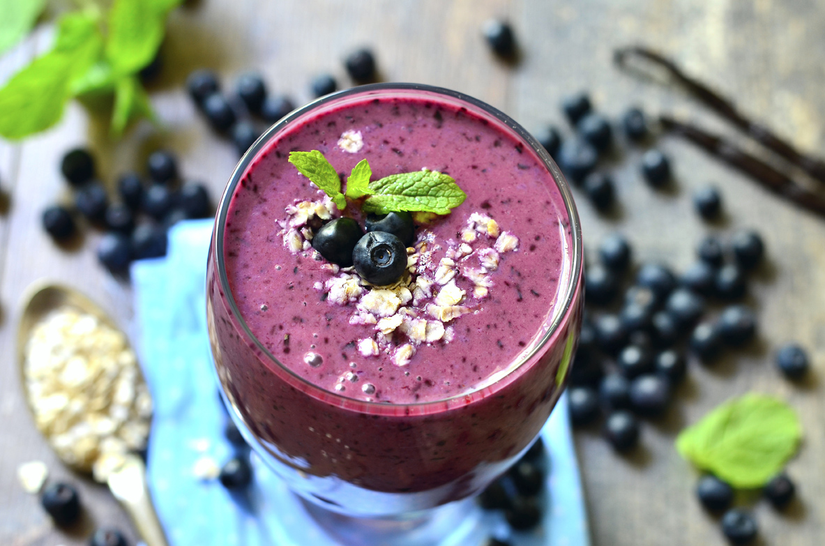 Blackberry and banana smoothie with oats and honey-healthy breakfast.