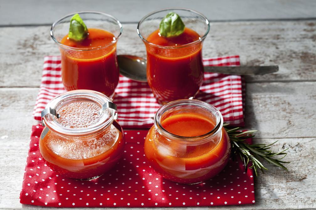 Tomato soup in glasses