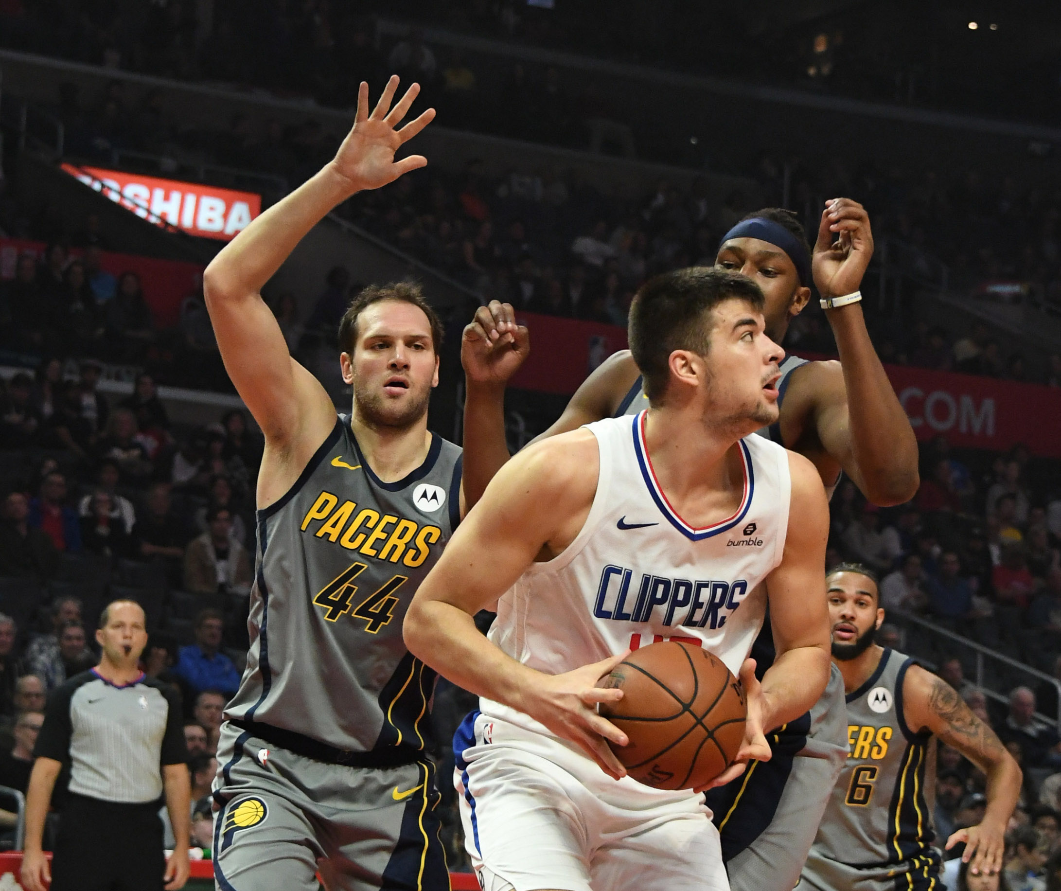 Mar 19, 2019; Los Angeles, CA, USA; LA Clippers center Ivica Zubac (40) is defended by Indiana Pacers forward Bojan Bogdanovic (44) in the first half at the Staples Center. Mandatory Credit: Richard Mackson-USA TODAY Sports - 12380266