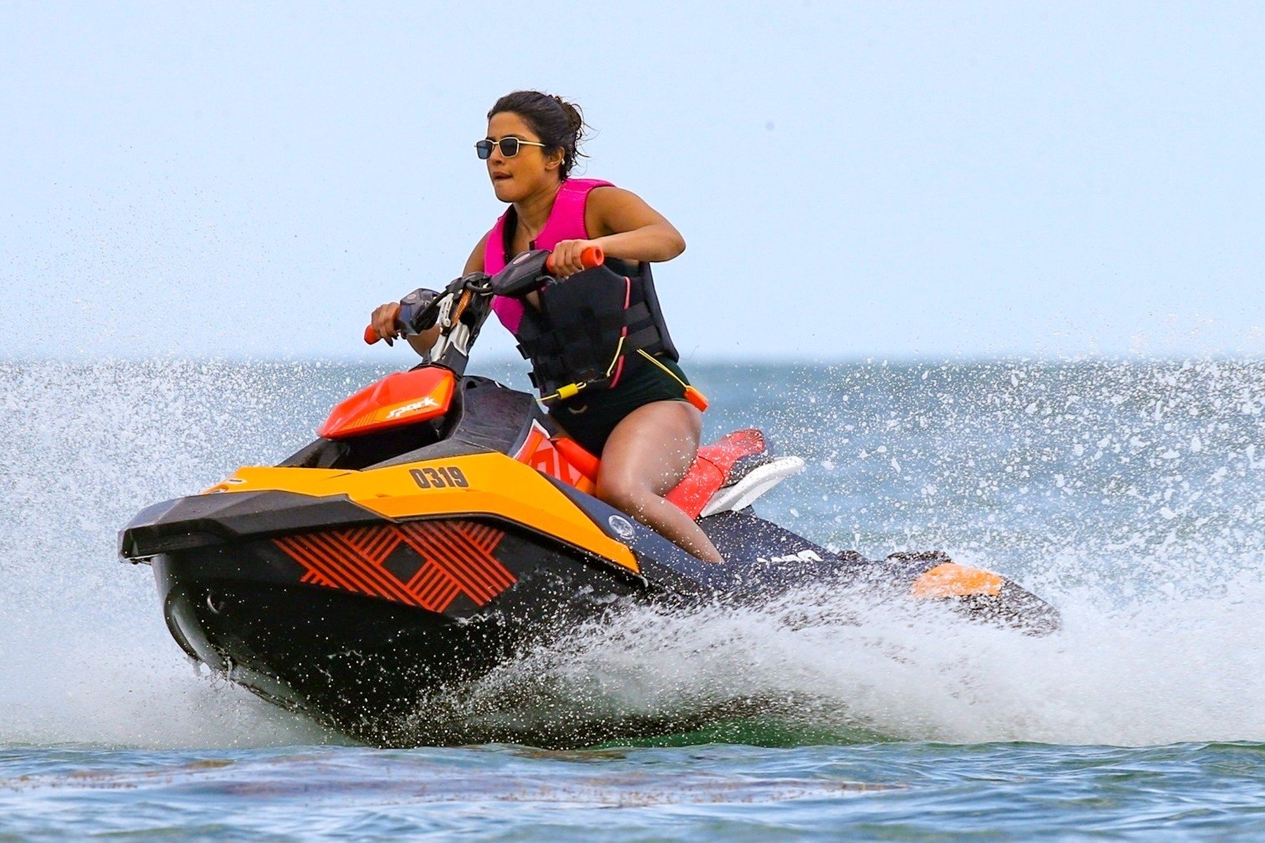 Miami, FL  - The Jonas Brothers, Nick, Kevin, and Joe, are out in sunny Miami Beach cruising on wave-runners, sipping on brew, and soaking in the sun. Joe and Nick double date with their ladies, Sophie and Priyanka and Kevin joins in on the fun as well. The group take turns cruising on the jet skis and eventually make their way out of the water and into the dining area. It doesn't get any cuter than this.  Pictured: Priyanka Chopra     *UK Clients - Pictures Containing Children Please Pixelate Face Prior To Publication*, Image: 422163264, License: Rights-managed, Restrictions: , Model Release: no, Credit line: Profimedia, Backgrid USA
