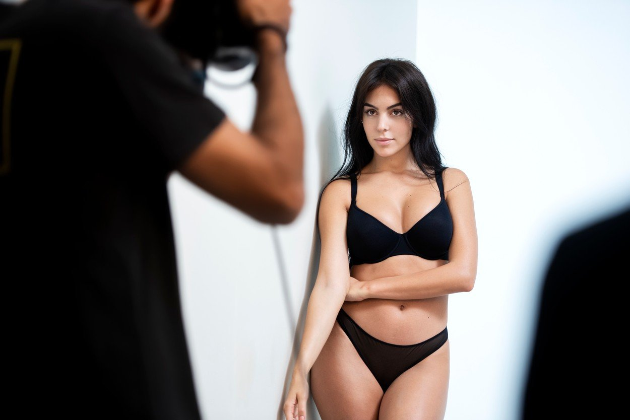 Georgina Rodriguez - the fiancee of football ace Cristiano Ronaldo - shows off her curves as she poses for lingerie brand Yamamay.  The 25-year-old Spanish beauty is seen in these campaign pictures.  And she also poses for the camera in behind-the-scenes images from her latest shoot for the Italian company.  It comes after she was unveiled as the new face of Yamamay earlier this year. The brand said: