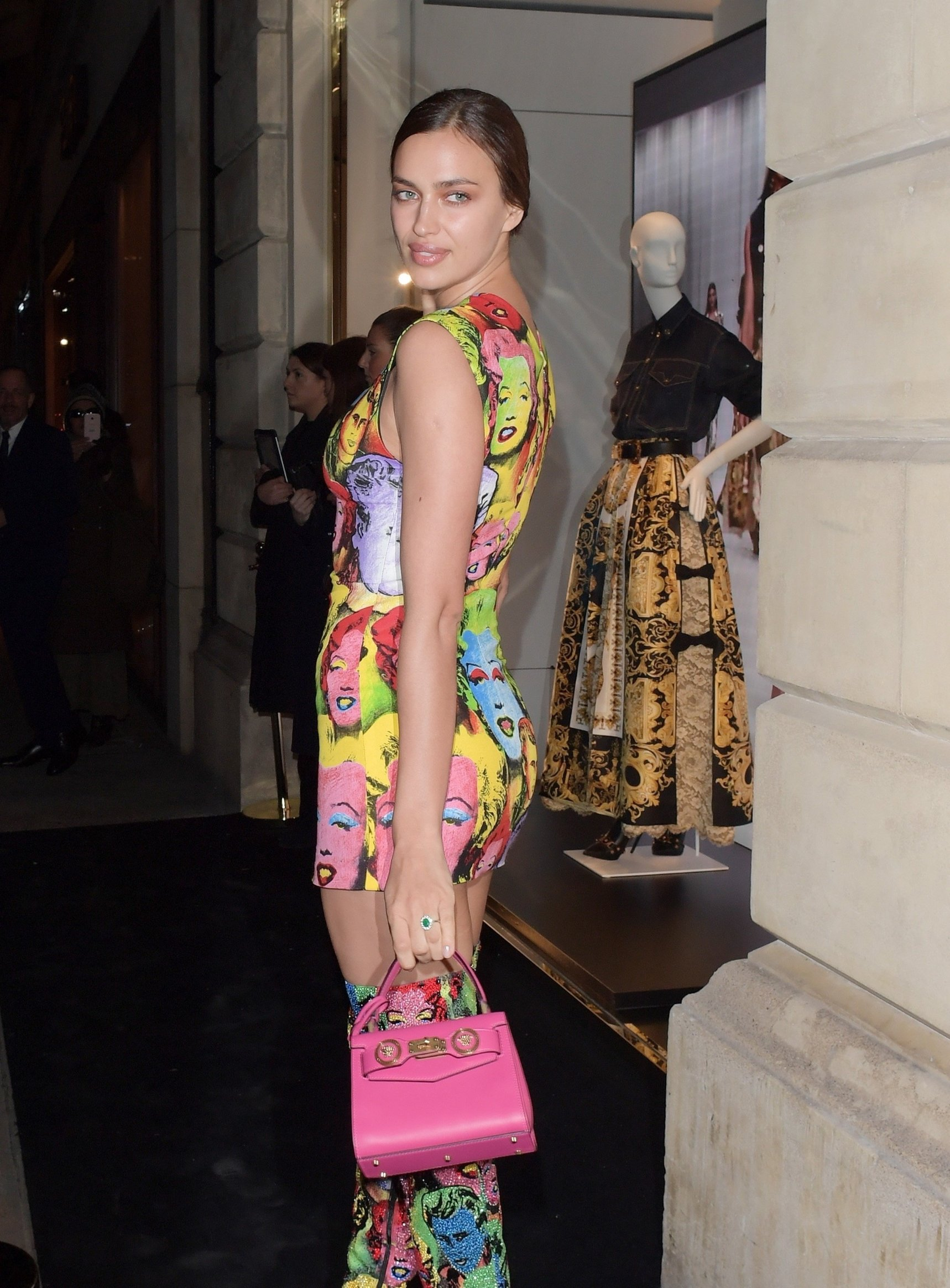 London, UNITED KINGDOM  - Irina Shayk seen arriving at the Versace Sloane Street Boutique shop opening in London. Irina was seen showing of her incredible physique in a tight fitted art pop dress.  Pictured: Irina Shayk  BACKGRID UK 5 DECEMBER 2017   UK: +44 208 344 2007 / uksales@backgrid.com  USA: +1 310 798 9111 / usasales@backgrid.com  *UK Clients - Pictures Containing Children Please Pixelate Face Prior To Publication*, Image: 357011915, License: Rights-managed, Restrictions: , Model Release: no, Credit line: Profimedia, Backgrid UK
